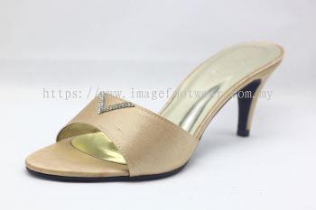 Elegant Lady Fashion Slipper with 2 Inch Heel - TF-1866- GOLD Colour