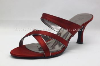 Elegant Lady Fashion Slipper with 2 Inch Heel - TF-1497- RED Colour