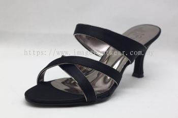 Elegant Lady Fashion Slipper with 2 Inch Heel - TF-1497- BLACK Colour