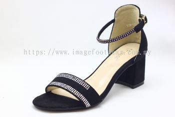 Lady Fashion Sandal with 2 Inch Heel - TF- 529-4- BLACK Colour