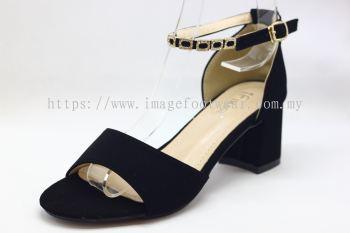Lady Fashion Sandal with 2 Inch Heel - TF- 525-7- BLACK Colour