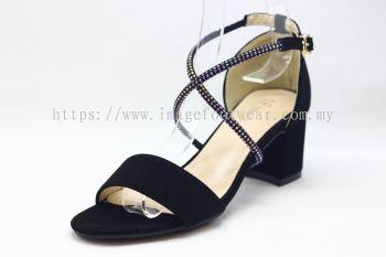 Lady Fashion Sandal with 2 Inch Heel - TF- 520-6621- BLACK Colour