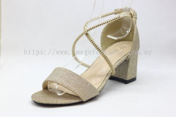 Lady Fashion Sandal with 2 Inch Heel - TF- 520-6621- LIGHT GOLD Colour
