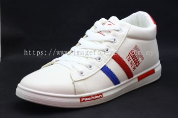 Men Round-Top Flat Classic Sneakers-TFM-8903 WHITE/BLUE/RED Colour