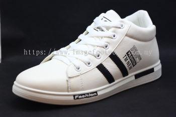 Men Round-Top Flat Classic Sneakers-TFM-8903 WHITE/BLACK Colour