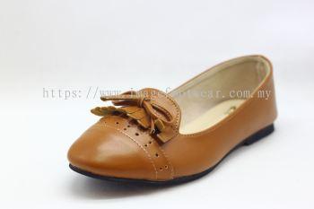 Lady Flat Wider Comfort Shoe -TF-8328- TAN Colour