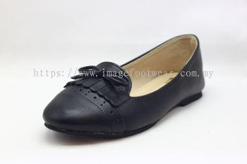 Lady Flat Wider Comfort Shoe -TF-8328- BLACK Colour