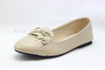 Lady Flat Wider Comfort Shoe -TF-8328- CREAM Colour