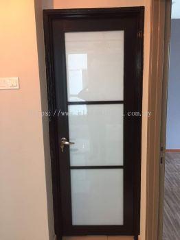 kitchen aluminium ( dark) swing door with Frosted glass