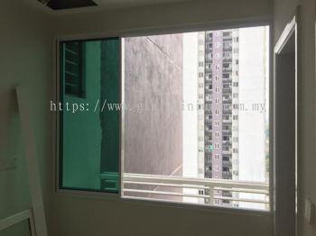 Sliding windows ( White) 3 panel with green glass ( 60 x 80)