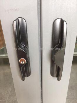 heavy duty sliding doors powder coated ( grey) with glass ( dark)