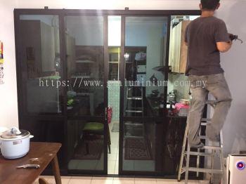 Sliding doors 4 panels ( powder coated black + tinter dark glass) @Pangsapuri Jati Selatan, jln. 1/125G Desa Petaling, Kuala Lumpur