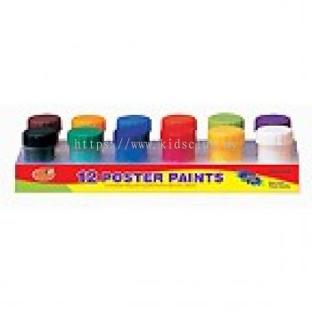 12 POSTER COLORS WITH 1 BRUSH IN PLATFORM