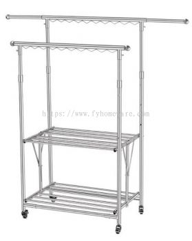 Solid S/S Foldable Cloth Rack with Wheels