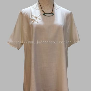 ��ʽ����Ů���� Round Neck Blouse - White