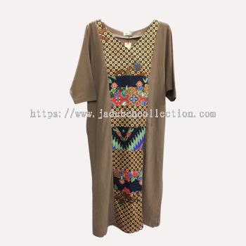 �Q����Ⱦƴ�����鳤ȹ ��V�죩 - dz��ɫ | Batik Patchwork Dress (V Neck) - Light Brown