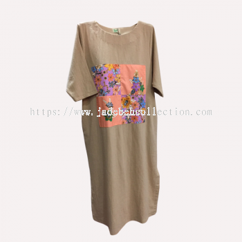 �Q����Ⱦƴ�����鳤ȹ ��Բ�죩 - ��ɫ | Batik Patchwork Dress (Round Neck) - Beige