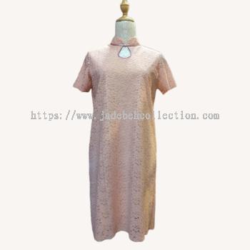 dz�ۺ�ɫ��˿���� Size S/M Front Key Hole Cheongsam/Qipao Lace Midi Dress - Light Pink