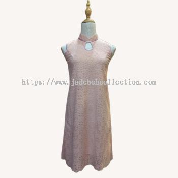 dz�ۺ�ɫ��˿�������� Size S/L Front Key Hole Sleeveless Cheongsam/Qipao Lace Midi Dress - Light Pink