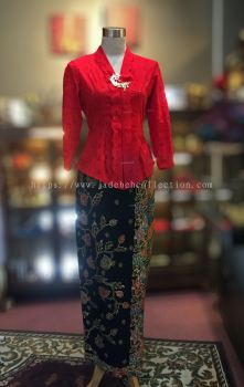 KBY013 Red Cotton Lace Kebaya - Size S / M / XL / 2XL