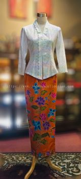 KBY012 Cotton Lace Nyonya Kebaya/Pastel Colour (Floral Motif)