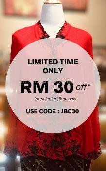 ��ɫѩ���廨���Ǹ�Q�� Size 44/48 Nyonya Kebaya Embroidery (Floral Motif) - Red