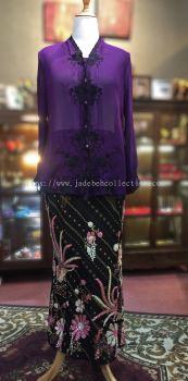 ��ɫѩ���廨���Ǹ�Q�� Size 44 Nyonya Kebaya Embroidery (Floral Motif) - Purple