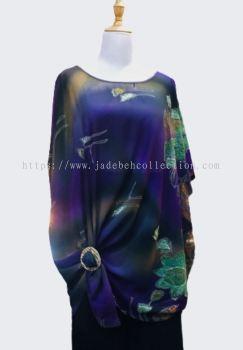 ����ɫѩ��Բ�춷������ Round Neck Chiffon Cape - Purple:Blue