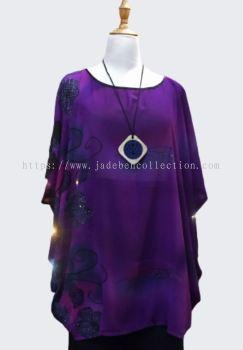 ��ɫѩ��Բ�춷������ Round Neck Chiffon Cape - Purple