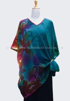 ��ȸ��ɫѩ��V�춷������ V Neck Chiffon Cape - Peacock Blue