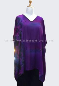 ��ɫѩ��V�춷������ V Neck Chiffon Cape - Purple