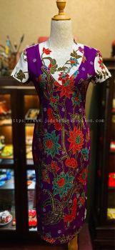 BTK(D)001 Batik Fitting with Sleeve - V Neckline