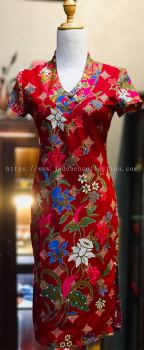BTK(D)003 Batik Fitting Qipao with Sleeve - V Neckline