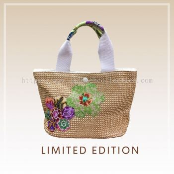 BTK(B)005 С�Ųݱ��Q������� Straw Bag Batik Patchwork