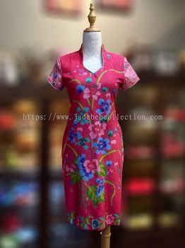 BTK(D)019 Batik Fitting Qipao with Sleeve - V Neckline