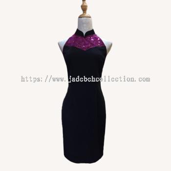 ��˿��Ƭ/��ɫ�������� Size S/M Lace Sequin Cut in Cheongsam/Qipao Midi Dress - Black