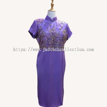 �������� Size XL/2XL Cheongsam/Qi Pao Midi Dress - Purple Lavender