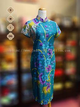 BTK(D)062 Batik Fitting Qipao with Sleeve - Mandarin Collar
