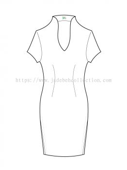 Short Sleeves V Neck Tailored Fit Qi Pao