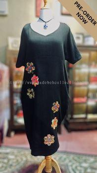 BTK(PD)002 Batik Floral Patchwork Midi Dress - Short Sleeve
