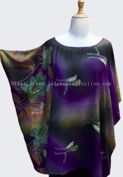 C(T)005 Round Neck Chiffon Cape - Purple