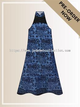 BTK(D)097 Pre-order Batik & Lace Cut-in Maxi Dress