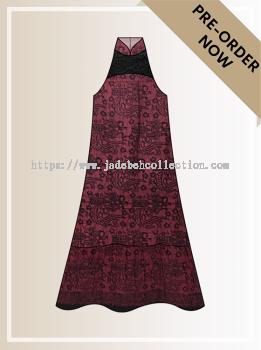 BTK(D)098 Pre-order Batik & Lace Cut-in Maxi Dress