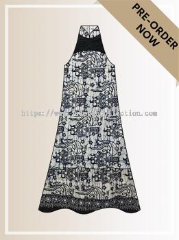 BTK(D)100 Pre-order Batik & Lace Cut-in Maxi Dress