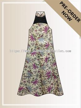 BTK(D)102 Pre-order Batik & Lace Cut-in Maxi Dress