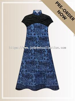 BTK(D)103 Pre-order Batik & Lace Short Sleeve Maxi Dress