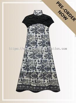 BTK(D)106 Pre-order Batik & Lace Short Sleeve Maxi Dress