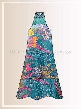 BTK(D)109 Pre-order Batik & Lace Cut in Maxi Dress