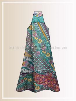 BTK(D)110 Pre-order Batik & Lace Cut in Maxi Dress