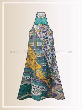 BTK(D)111 Pre-order Batik & Lace Cut in Maxi Dress